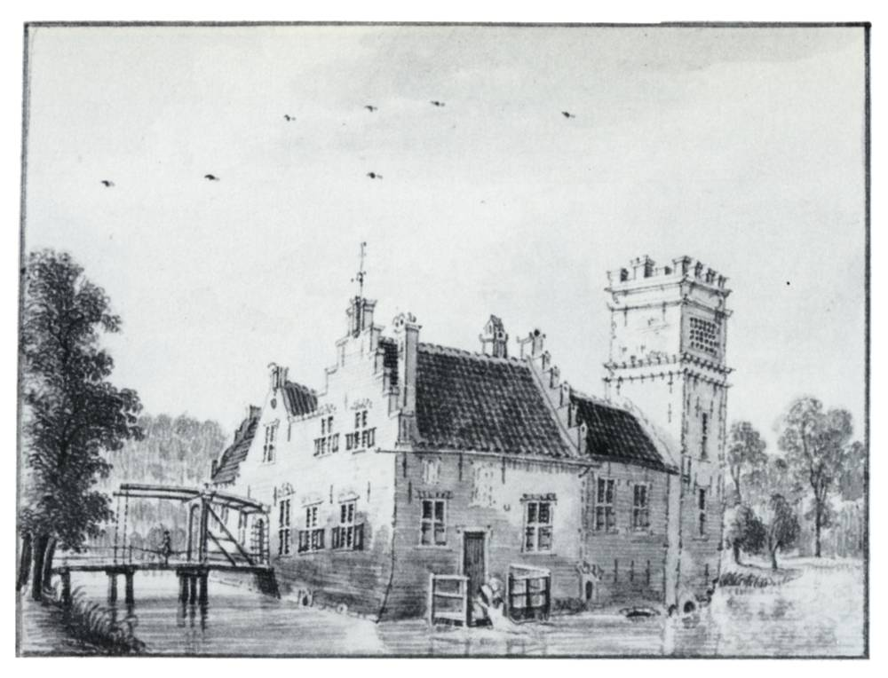 Kasteel Ryppickerweerd in IJsselstein. Tekening Jan de Beijer, 1744
